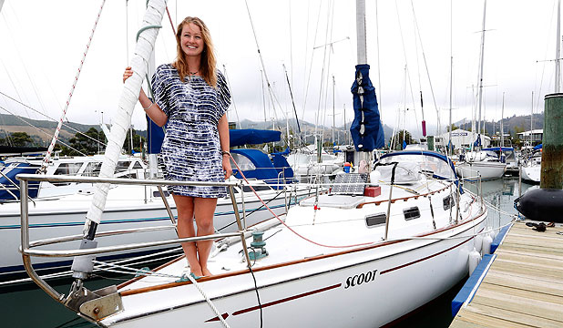 STUDENT FLAT: Otago University student Kathryn Holmes, 23, sails the family yacht Scoot to and from Nelson, and lives on the yacht while attending university in Dunedin.