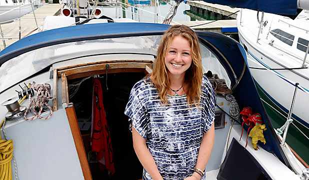 FLOATING HOME: Student Kathryn Holmes lives on board during term time.