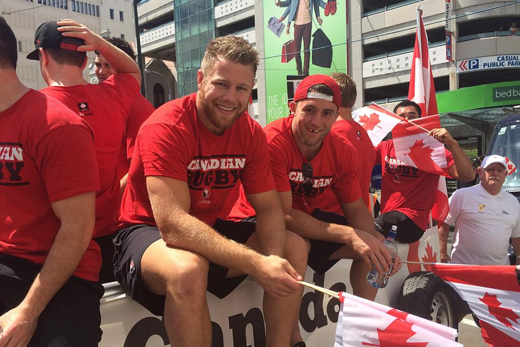 The Canadian team soaks up the atmosphere in Wellington.