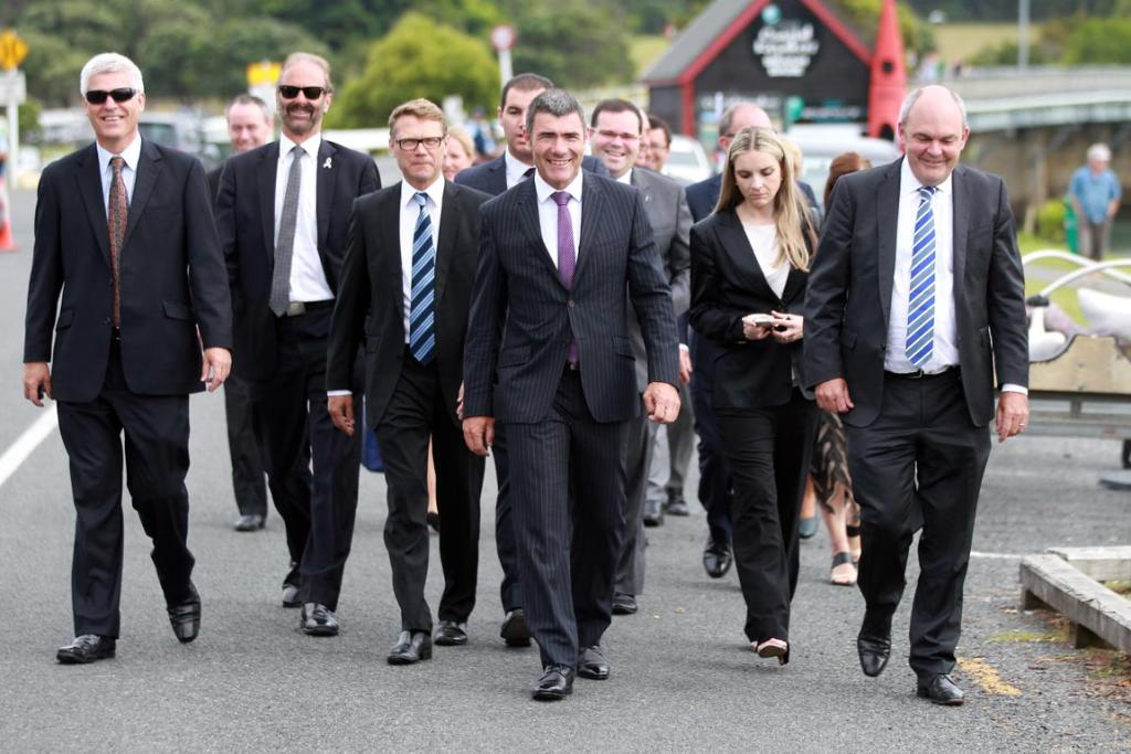 National MPs arrive at the marae.