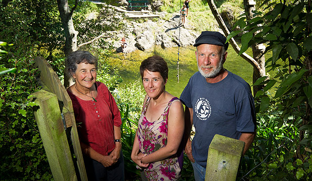 POPULAR PLACE: Ali, Ami and Tom Kennedy have a swimming hole at the bottom of their garden. It's fuelled their work on setting up Friends of the Maitai to improve and maintain the river's health.