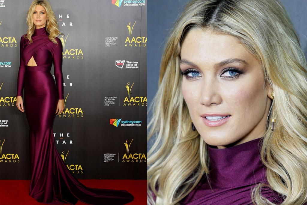 THE GOOD: If you described this dress to me - a plum-coloured jersey skivvy-necked gown with a train and a below-boob cut out - I'd probably ellicit the exact noise picture number seven made me spontaneously sputter out... but, actually, this Michael Costello gown looks perfect on Delta Goodrem. That is definitely her colour and the dress hugs her body in a very loving way.