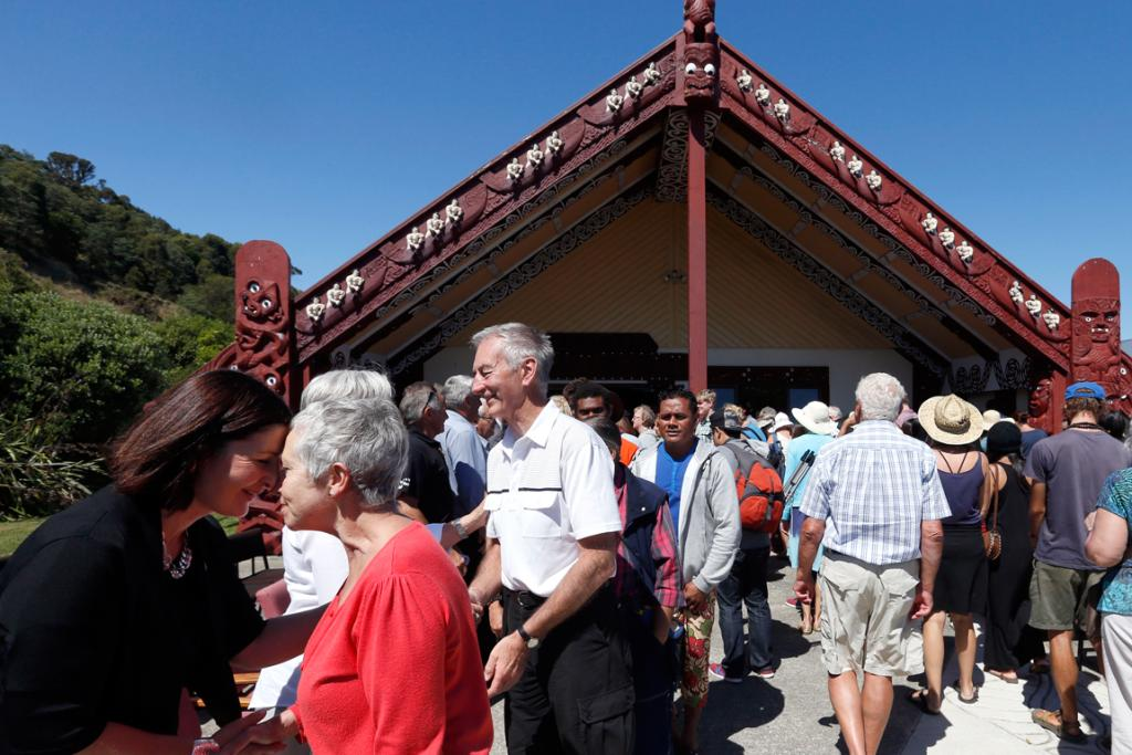 MEET AND GREET: Nelson mayor Rachel Reese, left and a visitor hongi at a Powhiri at Whakatu Marae.