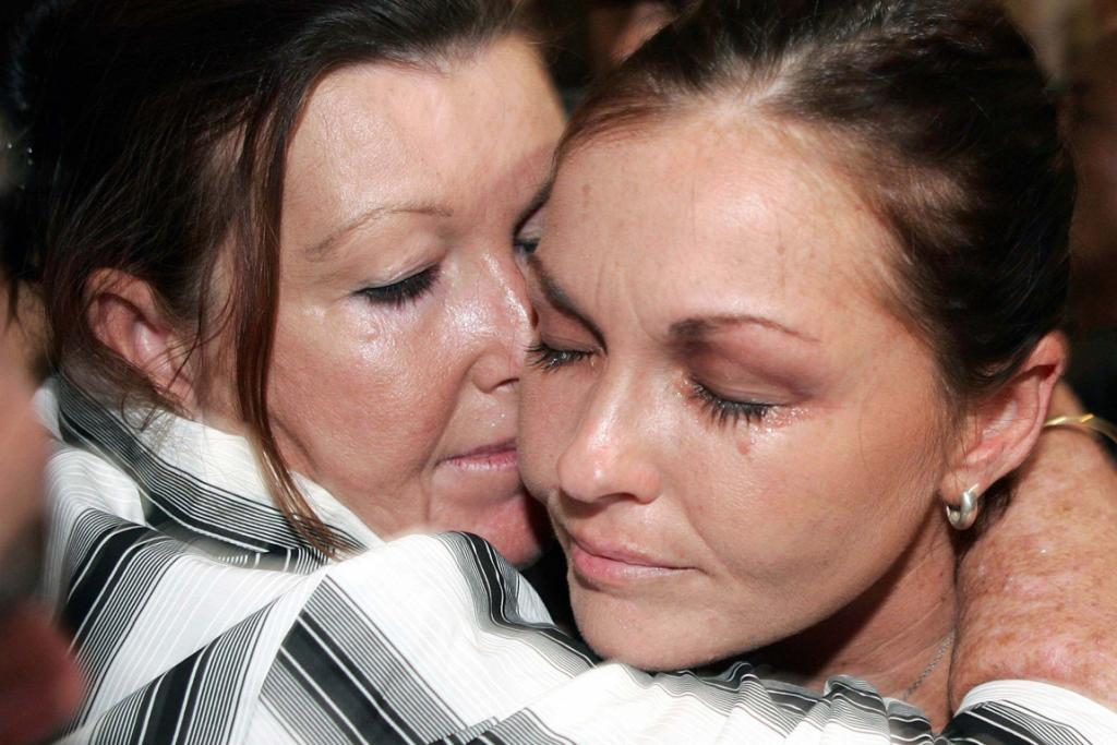 Schapelle Corby receives a kiss from her mother after she was found guilty of trying to smuggle 4.1kg (9 lb) of marijuana into Bali.