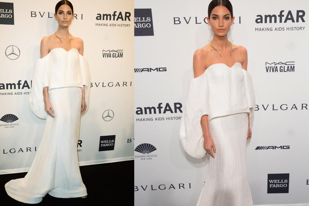 THE GOOD: Lily Aldridge shows us plebs why she gets paid to wear clothes by making this hard-to-pull off top-skirt combo by Rosie Assoulin look like a work of art. I love her Marc Allary necklace and that she's wearing no other jewellery. I also love that middle part bun on her (heads up though, most of us mere mortals suit a part that's at least a little off centre - I look like Leelee Sobeiski after dental surgery with a middle part. CHEEKS!).