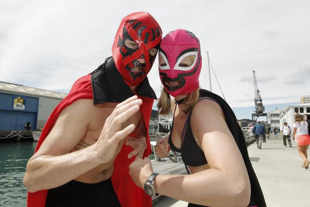Bo Simkin, left, and Claire parkinson both from Eastbourne as super heroes.