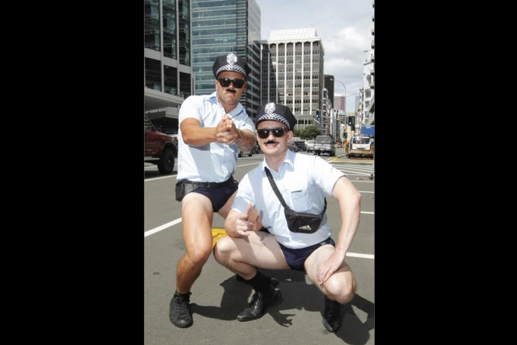 Cory Heather and James Scott as that perennial Sevens favourite, Speedo Cops.