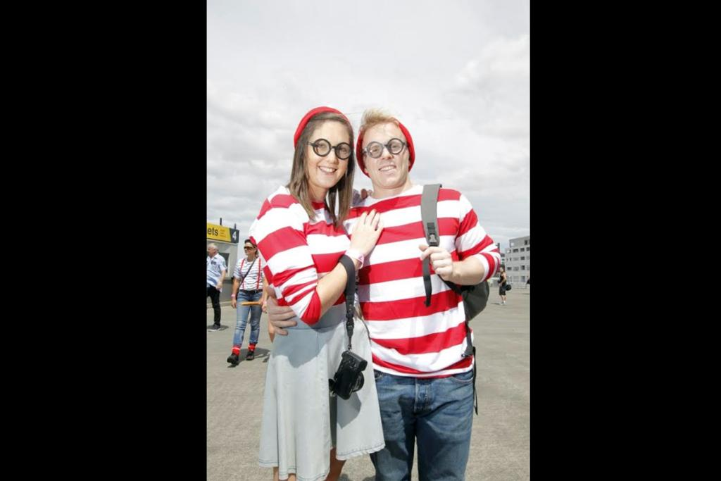 Amy Brookes and Ben Fox were actually pretty easy to spot in their Where's Wally? costumes.