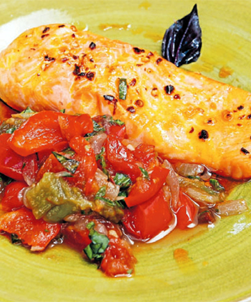 Grilled salmon with pepperonata