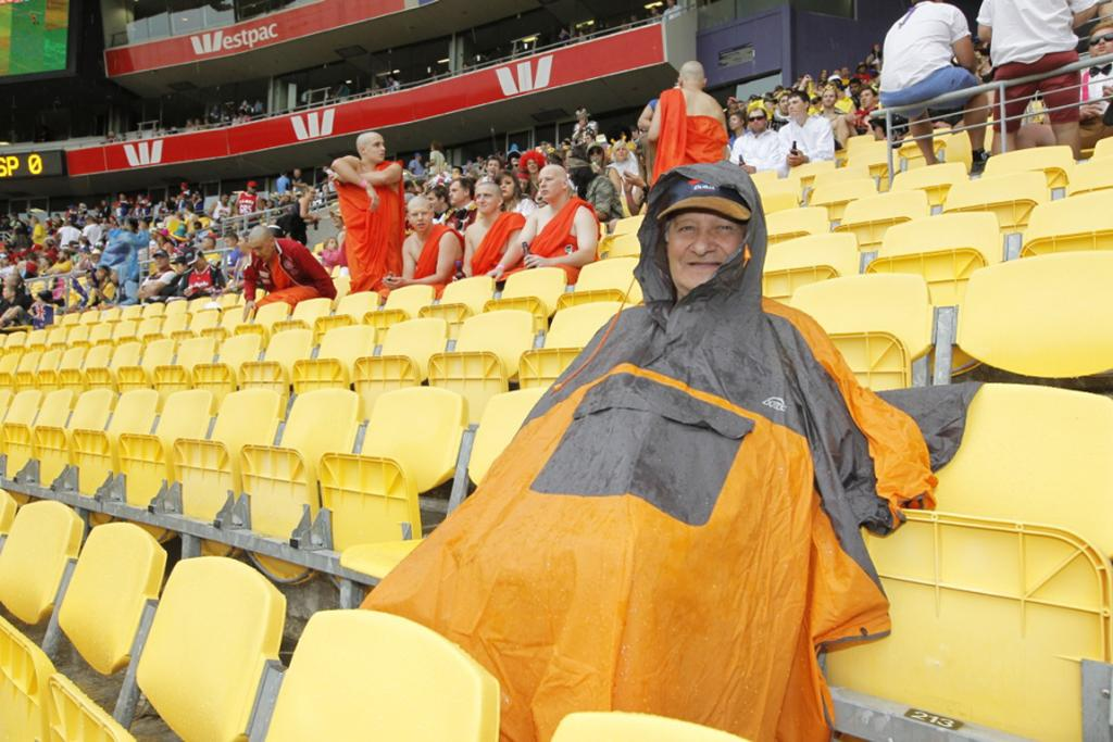 Dennis Watling comes to the Sevens each year - for the rugby - and was prepared for the rain.
