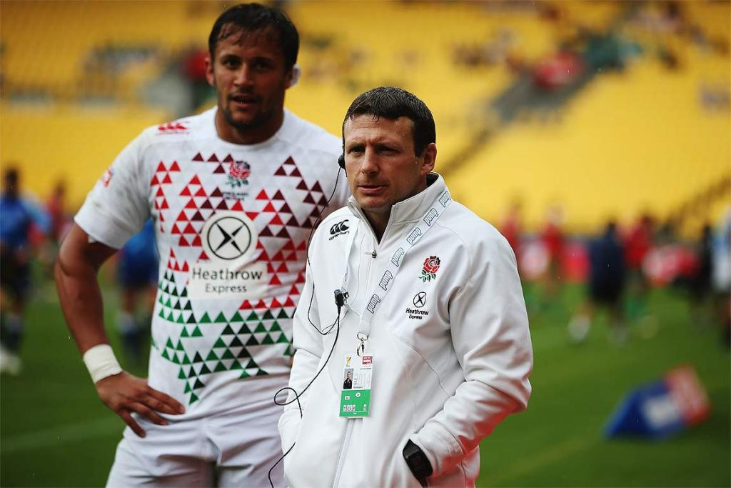 Head coach Simon Amor of England looks on during the Pool A match between England and Portugal.