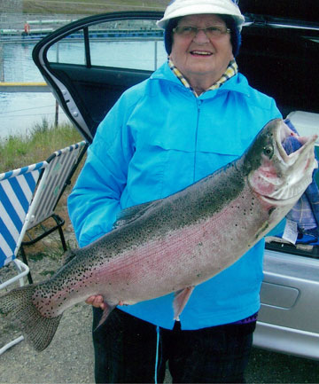 Frances Highsted with a 16-pound rainbow trout