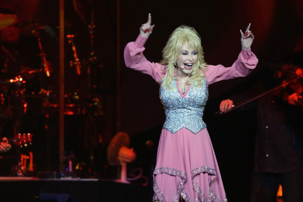 Dolly Parton performing at Auckland's Vector Arena Friday night.