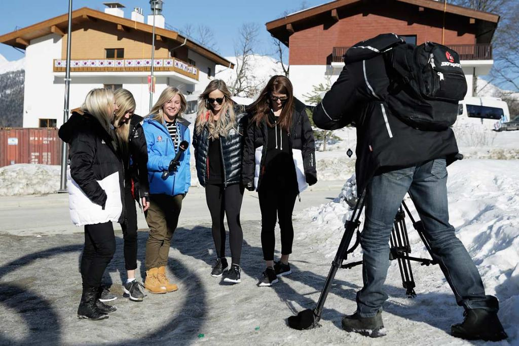 Snowboarders Shelly Gotlieb, Stefi Luxton, Christy Prior and Rebecca Torr are interviewed by Sky Sport's Hayley Holt.