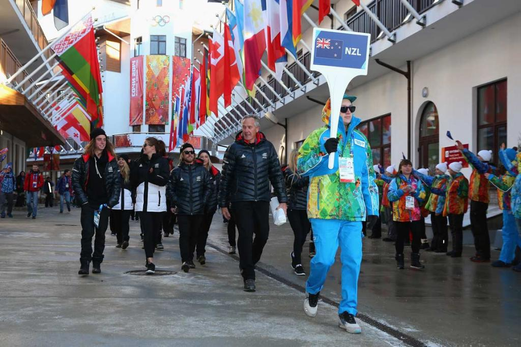 Members of the NZ Olympic team arrive at the Athletes Village at Rosa Khutor.