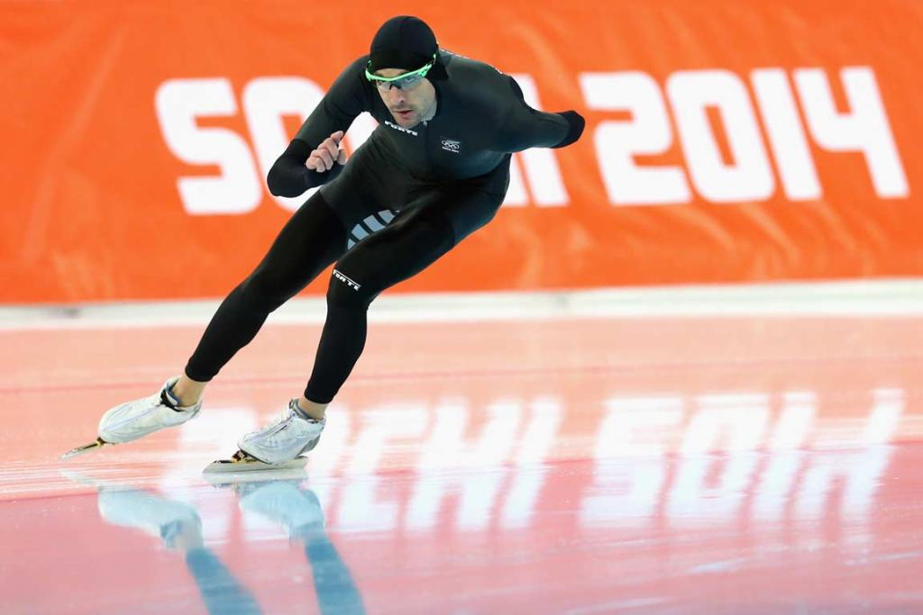 Speed skater Shane Dobbin practises at the Adler Arena Skating Centre.