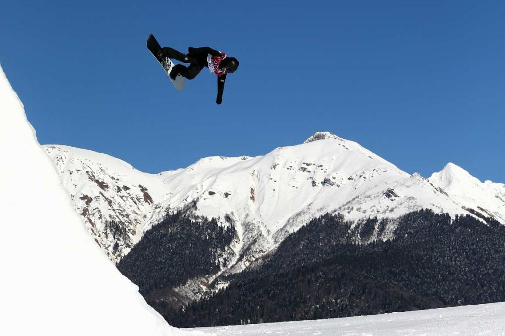 Christy Prior competes in the women's snowboard slopestyle qualification round.