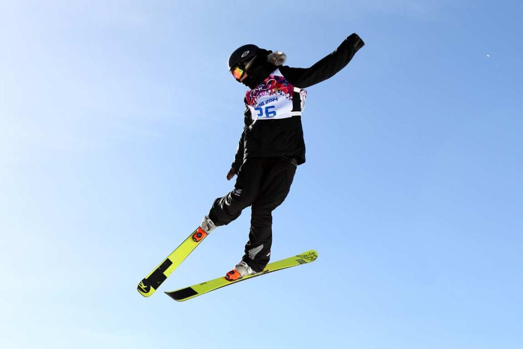 Anna Willox-Silfverberg goes big during women's ski slopestyle training.