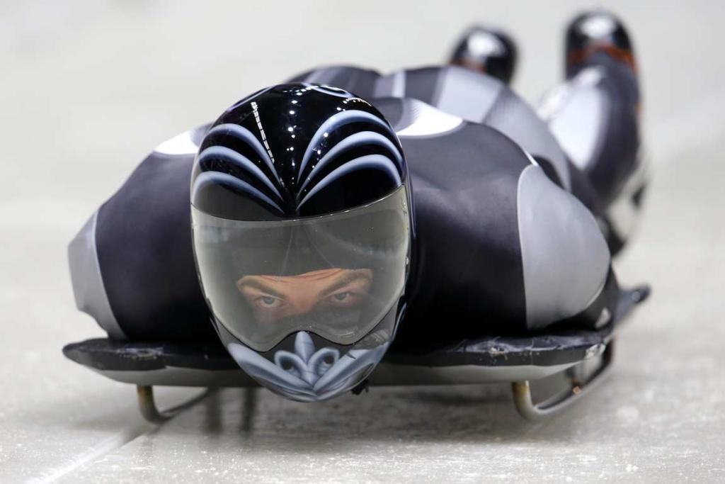 Skeleton racer Ben Sandford makes his way down a practice run at the Sanki Sliding Centre.