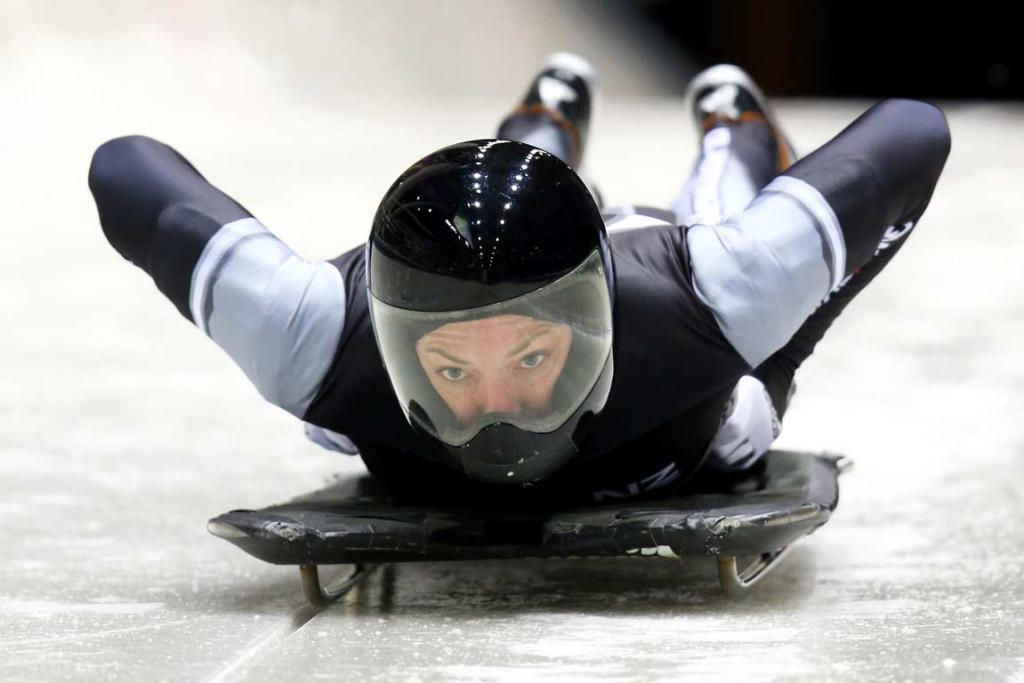 Katharine Eustace completes a run during skeleton practice at the Sanki Sliding Centre.
