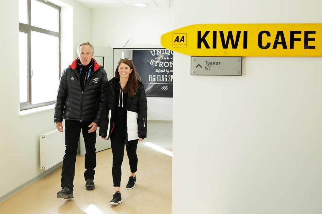 Snowboarder Shelly Gotlieb and Chef de Mission Peter Wardell tour the New Zealand section at the Athletes Village.