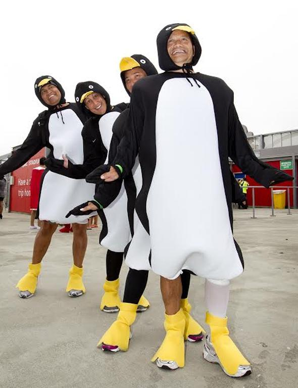 Penguins were comfortable in the cool conditions on day two.