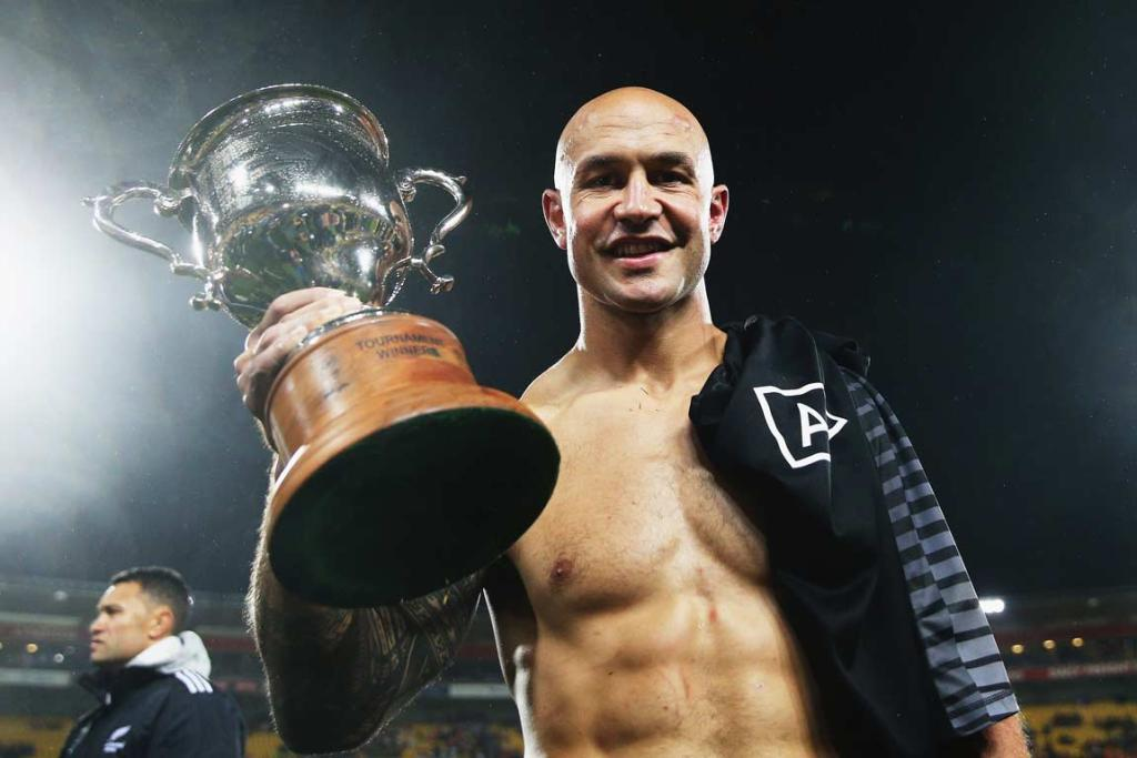 New Zealand captain DJ Forbes with the Wellington Sevens trophy.
