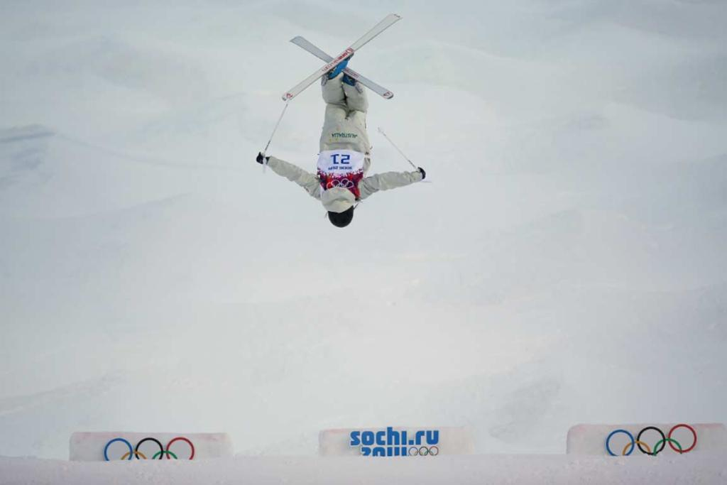 Australia's Nicole Parks performs a jump during the women's freestyle skiing moguls qualification round.