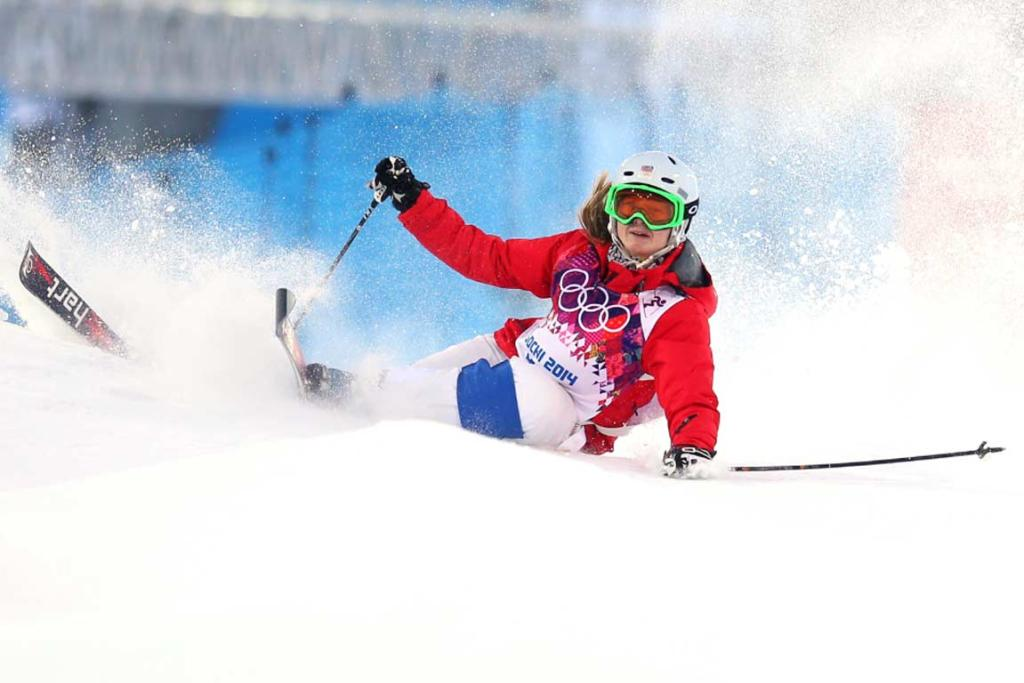 Tereza Vaculikova of the Czech Republic crashes out in the ladies' moguls qualification.