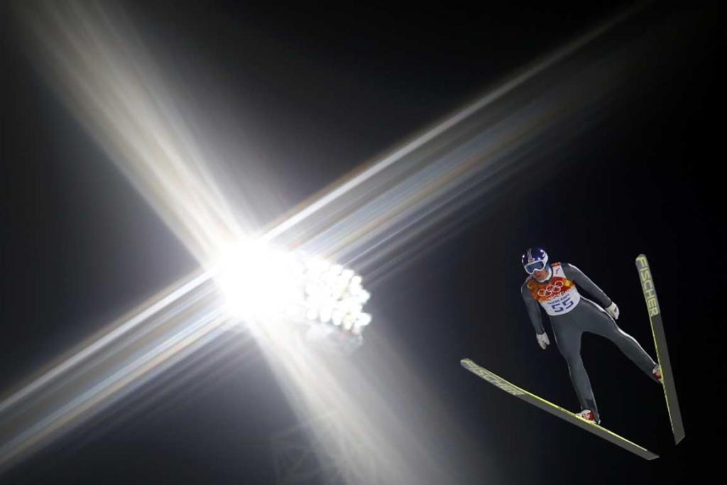 Norway's Anders Bardal soars through the air during his trial jump in the men's ski jumping individual normal hill qualification round.
