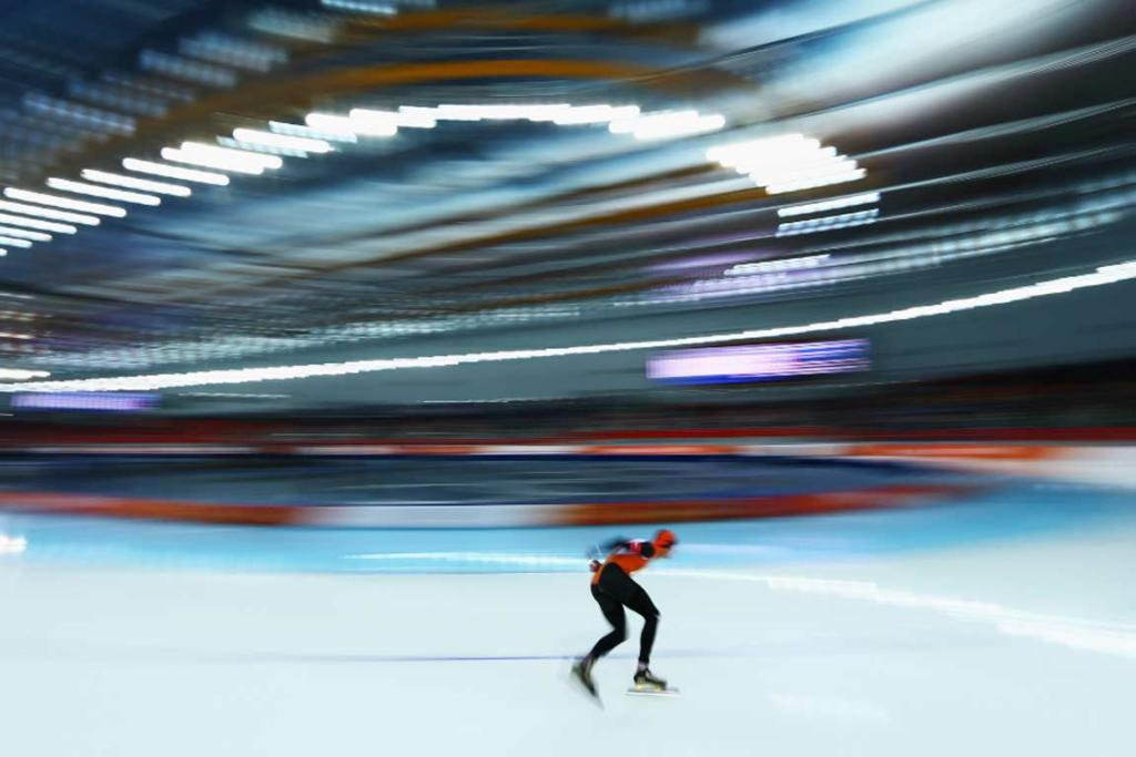 Gold medalist Sven Kramer competes in the men's 5000m speed skating event.