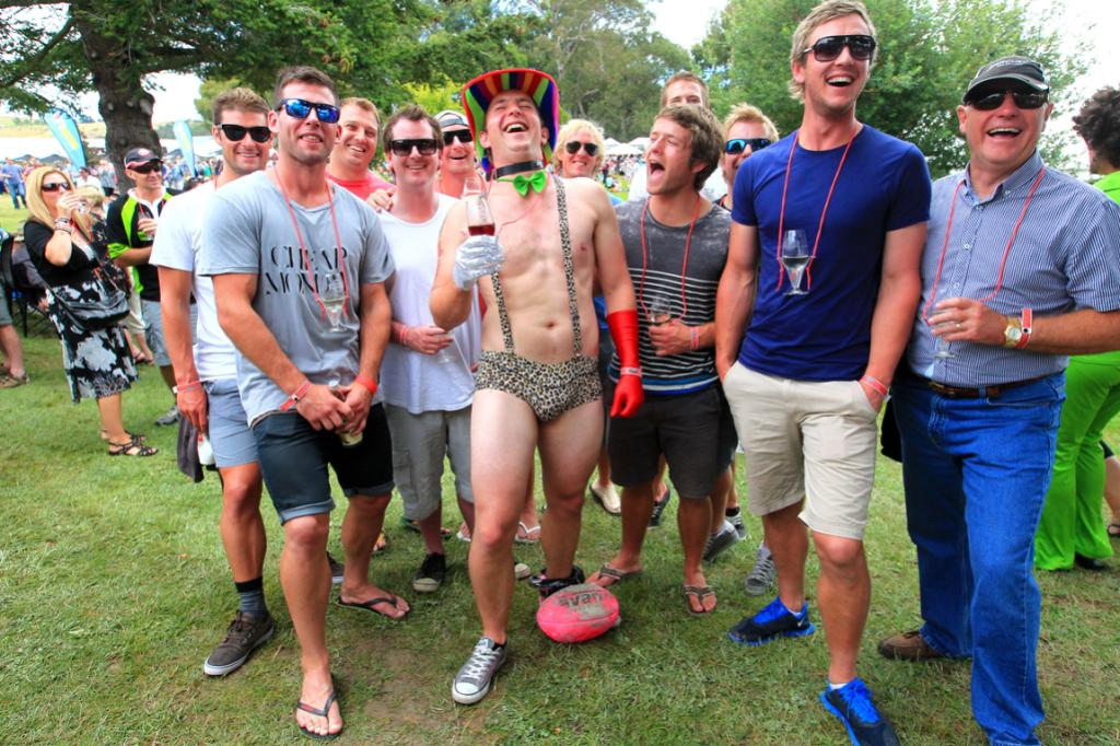 Stag do: Scott Williamson from Christchurch with his ball and chain and all his mates.  Dad is at far right