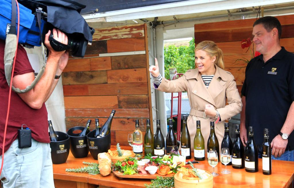Australian weather presenter, from the Australia Today Show, Emma Freedman interviews, Alex Giesen, of Giesen Wines in a live broadcast