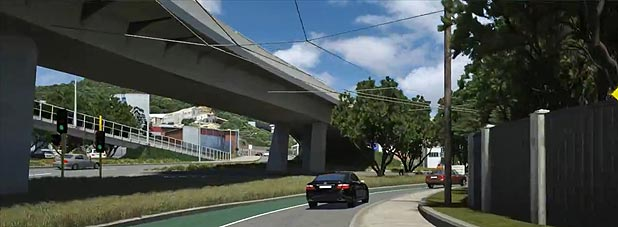 A photo from the simulation video of the planned Basin Bridge flyover.