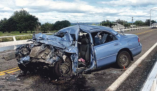 COLLISION: A car carrying two adults and two young children crashed into a single cab truck on the Thornton Bridge north-west of Whakatane.