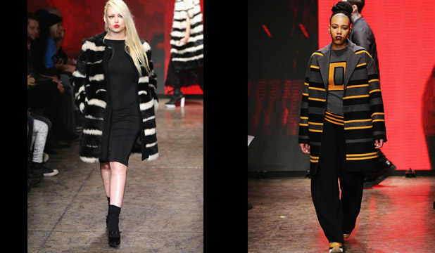 FASH PACK: 'Real' people work the DKNY runway, including hostess Melissa Burns (left).