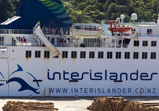 A lifeboat dangles from the side of the Interislander ferry Arahura