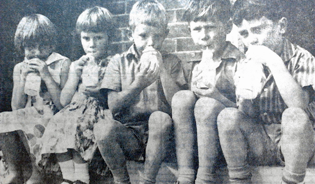 "LAST DAY: These five ""first-year"" pupils of the Grantlea School, from left, Diane Bailey, Lesley Howard, Dean Speechley, Barry Marson and Mark Reardon, are seen enjoying their free school milk for the last time - as the 30-year milk-in-schools scheme was officially abolished on February 24, 1967."
