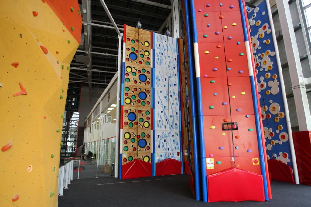 The rock climbing area inside the new Stadium Southland.