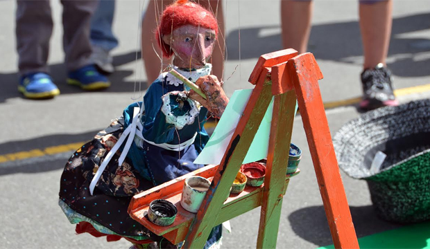 MISSING ARTIST: Evaline the painting puppet, a regular fixture at the Harbourside Market, has gone missing after falling out of a car boot in Wellington.