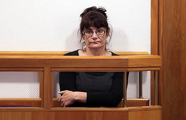 MURDER CHARGE: Lucille Sarah Scollay in the dock at the High Court in Christchurch.