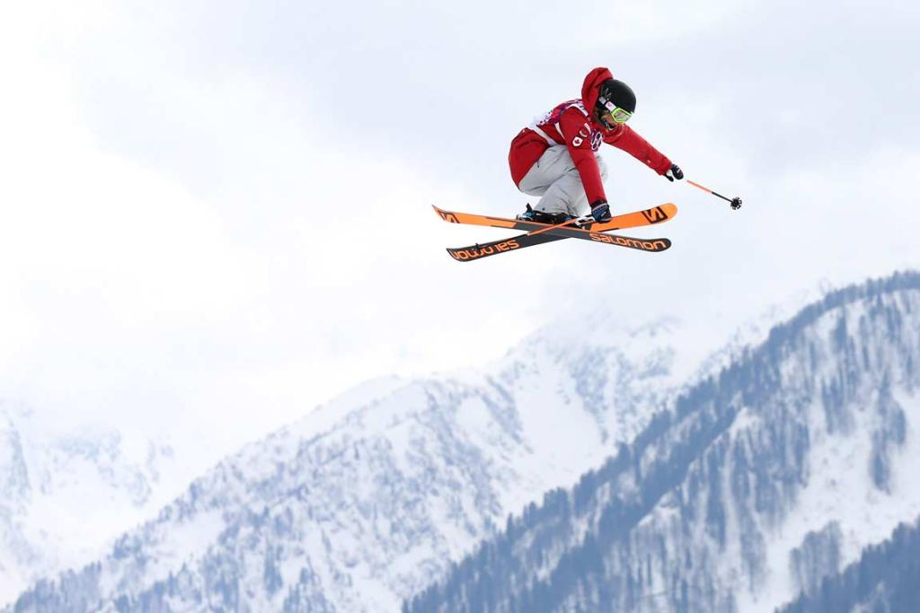 Canadian Dara Howell on her way to gold in the women's freestyle skiing slopestyle.