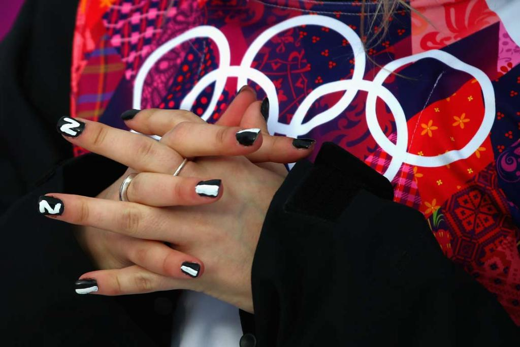 Anna Willcox's New Zealand and Olympics inspired nails.