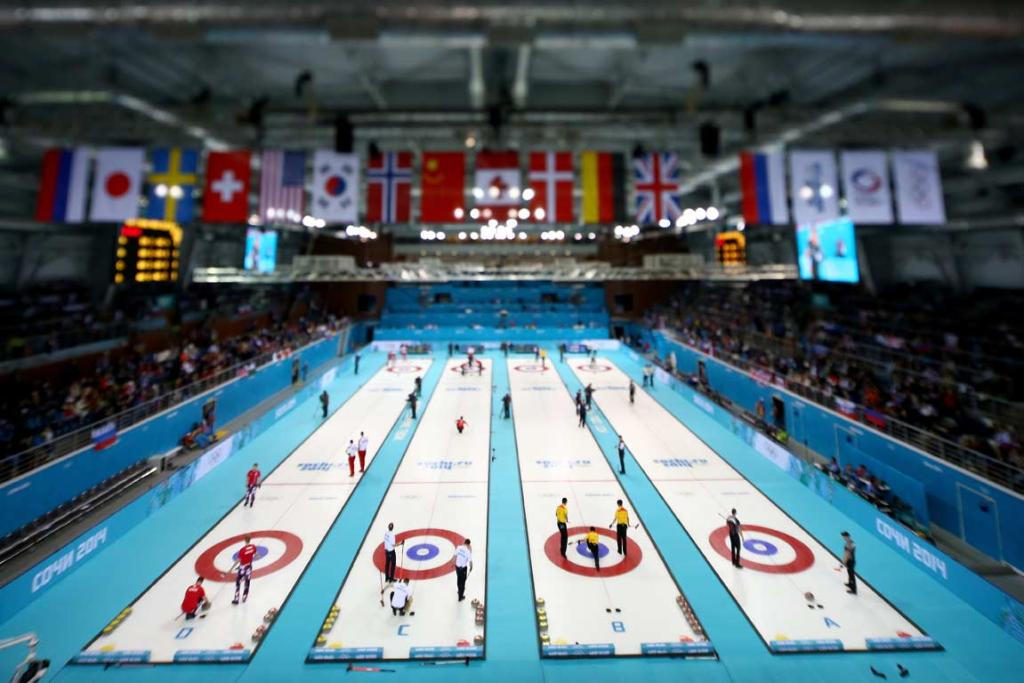 A view of the curling arena during men's pool matches.
