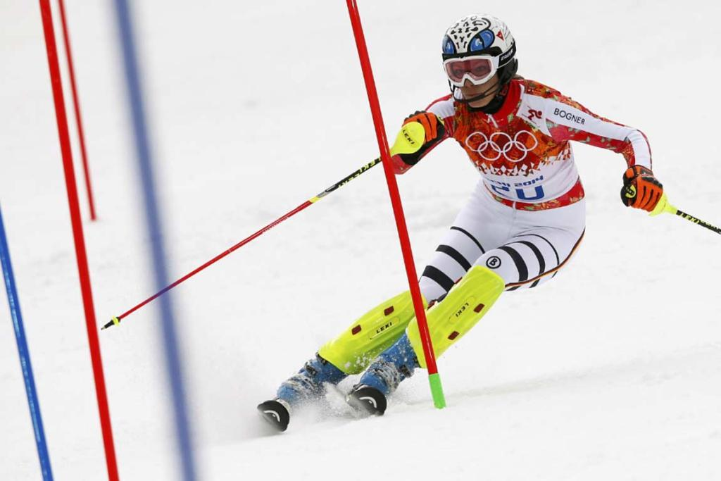 Germany's Maria Hoefl-Riesch makes her way down in her slalom run in the women's super combined.