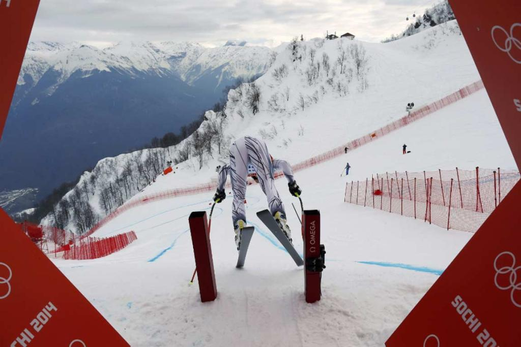 Spain's Paul De La Cuesta prepares to start during the downhill run of the men's alpine skiing super combined training session.