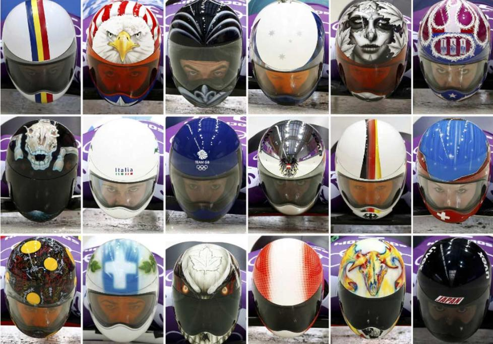A montage of skeleton racers' helmets, including New Zealand's Ben Sandford (top line, third left)
