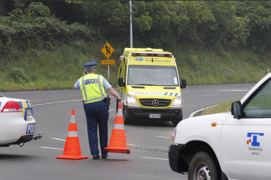 An ambulance arrives at the diversion checkpoint  near the Haywards Hill crash.