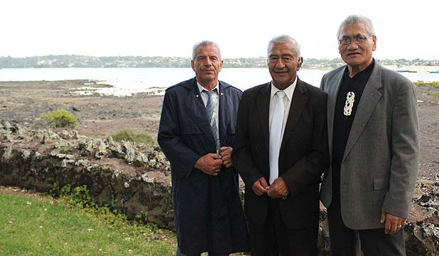 BRIDGE BLESSINGS: Local kaumatua Whitiora Cooper, Jim Rauwhero and Eru Thompson bless the new Mangere Bridge boat ramp at an early morning ceremony.