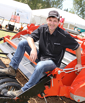BRING IT ON: Schouten Machines managing director Marcel van Hazendonk is all ready for Southern Field Days. He is sitting on a rotary spader, which has been imported from the Netherlands.